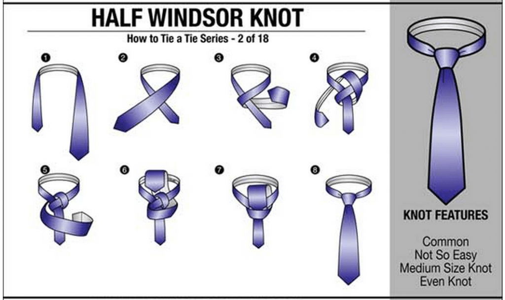 How to tie a necktie tie tying chart 18 ways to tie a neck tie style 2 half windsor knot ccuart Choice Image